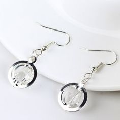 Faux Gemstone Circle Earrings - SILVER Mobile