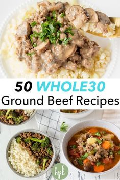 This list of 50 Ground Beef Recipes is perfect for when you need a quick meal, whether you're doing a or not. They're easy dinners with a variety of options – Instant Pot or crockpot, stir fry or stroganoff, sweet potato chili or low carb m Ground Beef Recipes Skillet, Whole30 Ground Beef Recipes, Paleo Ground Beef, Ground Beef Recipes For Dinner, Whole30 Dinner Recipes, Paleo Recipes, Meat Recipes, Crockpot Recipes, Recipies