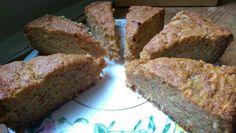 Carrot and Pineapple Cake, 280g plain flour, 2tsp baking powder, 1.5tsp bicarb, 2tsp cinnamon, 1tsp salt, 225g granulated sugar, 170ml veg oil, 4 eggs, 2 grated carrots, 225g crushed pineapple. Oven 160 fan. Add everything to dry ingredients. Bake for c. 75 mins