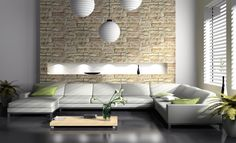 Mesmerizing Images Of Living Room Decoration With Various Stone Living Room Wall : Fantastic Modern Living Room Decoration Using Cream Light Brown Stone Living Room Wall Including L Shape White Leather Living Room Sofa And Rectangular Oak Wood Low Legless Coffee Table