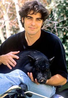 George Clooney received his beloved pot-bellied pig, Max, from his ex-girlfriend Kelly Preston and remained inseparable for 18 years. The Oscar-winning actor lost the potbellied pig in Kentucky, Amal Clooney, George Clooney, Unusual Animals, Cute Animals, Unusual Pets, Mans Best Friend, Best Friends, Pet Max