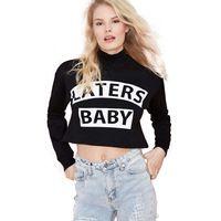 2015 New Arrival Streetwear Letter Print Hoodies Sweatshirt for Women Long Sleeves O-neck Wide-cut  Black Pullover for girl