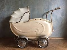 Baby Doll Carriage Buggy Stroller Wicker Lace Vintage