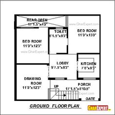 House Plan for 30 Feet by 30 Feet plot Plot Size 100 Square Yards