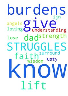 GOD I LIFT MY BURDENS TO YOU. YOU KNOW MY STRUGGLES - GOD I LIFT MY BURDENS TO YOU. YOU KNOW MY STRUGGLES . GIVE ME THE STRENGTH NOT TO LOSE MY FAITH, GIVE ME WISDOM AND UNDERSTANDING TO KNOW WHAT TO DO. PLEASE SURROUND ME AND MY DAD WITH YOUR LOVING ANGELS TO HELP US.TY IJN AMEN Posted at: https://prayerrequest.com/t/zL0 #pray #prayer #request #prayerrequest