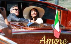 Pin for Later: Can't-Miss Celebrity Pics! George Clooney and Amal Alamuddin were all smiles ahead of their civil ceremony on Monday in Venice, Italy. George Clooney Amal Alamuddin, George Clooney Wedding, George Clooney Images, Venetian Wedding, Expecting Twins, Paris Match, Civil Wedding, Civil Ceremony, Famous Couples