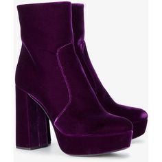 Prada 115 Velvet Platform Ankle Boots ($1,085) ❤ liked on Polyvore featuring shoes, boots, ankle booties, block-heel boots, velvet booties, purple boots, purple booties and bootie boots
