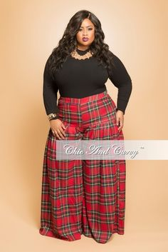 2a2d133fa9d Final Sale Plus Size Pleated Plaid Pants in Red and Green