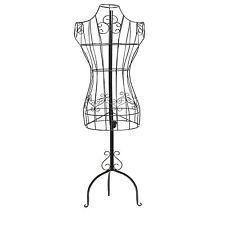 Black Metal Wire Frame Female Torso Hanging Dress Form with ...
