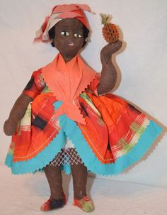 Vintage BARBADOS (WEST INDIES) GIRL DOLL w/PINEAPPLE Caribbean Islands CLOTH