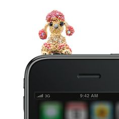 Amazon.com: Gold Plated Crystal Moveable Ear Poodle iPhone Jack Anti Dust Plug Cover Stopper
