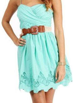 Summer dress with brown belt. <3 this