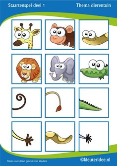 Staartenspel voor kleuters deel thema dierentuin, juf Petra van Kleuteridee, tail game for preschool, free printable. by chasity Animal Worksheets, Animal Activities, Animal Crafts, Preschool Jungle, Preschool Themes, Preschool Activities, Teaching Kids, Kids Learning, Dear Zoo
