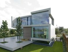 Minimal cubic house in white