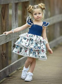 baby girl party dresses Baby Girls' Active / Street chic Party / Birthday Blue & White Floral Lace up / Print Sleeveless Regular Regular Above Knee Cotton / Spandex Dress Blue / Baby Girl Party Dresses, Birthday Girl Dress, Dresses Kids Girl, Baby Dress, The Dress, Vintage Girls Dresses, Dress Party, Trendy Boy Outfits, Little Girl Outfits