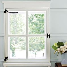 Wrought Iron Window Hardware on Traditional four-light Windows.bought the individual sashes and had my barn builders turn them into operable casement windows with handmade hardware. Iron Windows, Casement Windows, Diy Windows, Attic Renovation, Attic Remodel, Farmhouse Style Decorating, Farmhouse Decor, Farmhouse Ideas, Modern Farmhouse