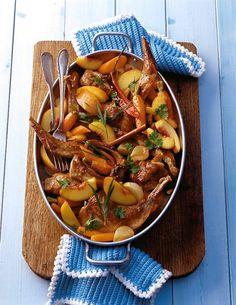 Kaninchen mit Pfirsichen Kung Pao Chicken, Ratatouille, Pot Roast, Chicken Wings, Food Inspiration, Cooking Recipes, Ham Recipes, Nom Nom, Oven