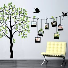 Samolepka na stěnu Rodinný strom s fotorámečky, 150x210 cm