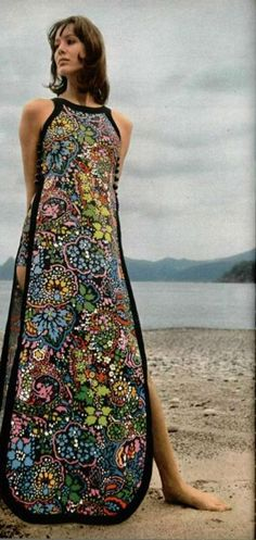 || Desert Lily Vintage || L'Officiel 1970s, maxi dress embroidered long gown day resort wear, look closely to see the matching shorts worn under this dress tunic black blue pink yellow model magazine                                                                                                                                                      More