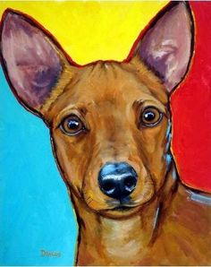 Miniature Pinscher Dog Art 11x14 Print by Dottie by DottieDracos