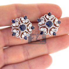 Womens Carat Diamond Blue Sapphire Gemstone Flower Earrings Rose Gold Simple Wedding Rings For Girls Who Love Classic Elegant engagement rings 2019 Sapphire Earrings, Sapphire Gemstone, Blue Sapphire, Silver Earrings, Sapphire And Diamond Earrings, Earring Studs, Natural Sapphire, Silver Ring, India Jewelry