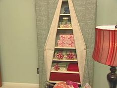 Fabric-Covered Shelving Unit : Archive : Home & Garden Television Decorative Storage, Diy Storage, Office Storage, Storage Ideas, Wire Shelving, Shelves, Shelving Ideas, Guest Bedrooms, Fabric Covered