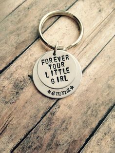 Handstamped personalized dad keychain - forever your little girl - new dad - fathers day present - birthday present - keychain - daughter by OneHammerCreations on Etsy