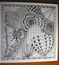 Tangled Ink Art , i love this Tangle Doodle, Doodles Zentangles, Zen Doodle, Zentangle Patterns, Doodle Art, Pattern Paper, Pattern Art, Doodle Coloring, Zen Art