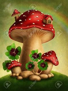 Find Magic Mushrooms Four Leaf Clover stock images in HD and millions of other royalty-free stock photos, illustrations and vectors in the Shutterstock collection. Thousands of new, high-quality pictures added every day. Mushroom Drawing, Mushroom Art, Fabric Painting, House Painting, Mushroom House, Free To Use Images, Fairy Pictures, Four Leaves, Four Leaf Clover