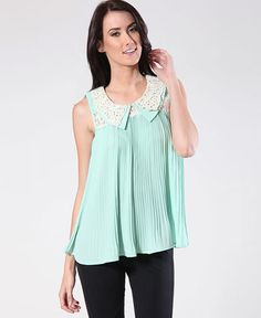 Mint Top Pleated with Cream Lace at Collar www.daisyshoppe.com