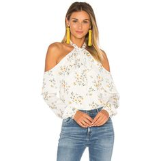 L'Academie x REVOLVE The Tie Neck Off Shoulder Blouse (214 AUD) ❤ liked on Polyvore featuring tops, blouses, fashion tops, white off shoulder top, white off shoulder blouse, cold shoulder tops, off the shoulder ruffle top and white blouses
