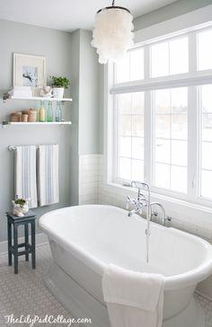 The Lily Pad Cottage - bathrooms - Benjamin Moore - Arctic Gray - EKBY JÄRPEN/ EKBY BJÄRNUM, Pottery Barn Capiz Chandelier, arctic gray, gra...