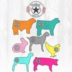 Show / Livestock Animal Vinyl Decal -Steer / Heifer / Rabbit / Goat / Chicken / Lamb / Pig