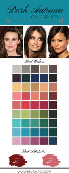 Using proven methods, Reveal PCA & PIA services can show you look and feel your best. Deep Autumn Color Palette, Deep Winter Colors, Skin Palette, Estilo Hippy, Seasonal Color Analysis, Colors For Skin Tone, Dark Autumn, Olive Skin, Be Your Own Kind Of Beautiful