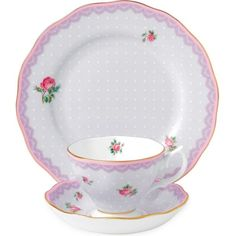 Royal Albert Candy Love Lilac 3-piece set ($56) ❤ liked on Polyvore featuring home, kitchen & dining, dinnerware, english rose dinnerware, bone china, english dinnerware, english bone china and polka dot dinnerware