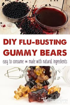 Flu Remedies Flu Busting Gummy Bears This Flu Busting gummy bears recipe is made with homemade elderberry syrup and gelatin for an immune boosting, gut healthy treat for kids of all ages! Elderberry Gummies, Elderberry Recipes, Elderberry Syrup, Healthy Treats For Kids, Healthy Snacks, Healthy Recipes, Healthy Man, Fruit Snacks, Healthy Tips