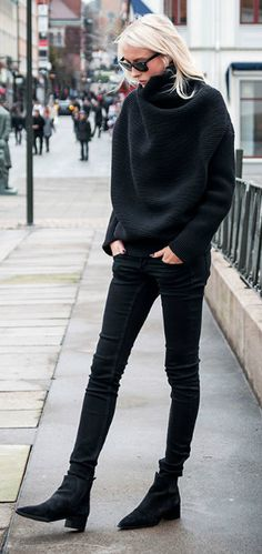 #black #outfits #fashion #winter Oversized sweater + skinny black jeans + Chelsea boots + Ellen Claesson. Knit/ Boots: Acne Studios, Jeans: Gina Tricot.234