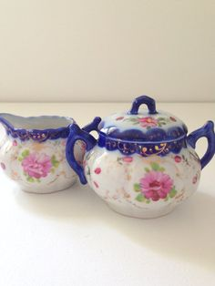 Vintage Nippon Handpainted Cobalt Blue Sugar by MariasFarmhouse