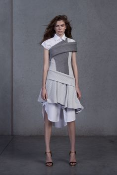 Maticevski Resort 2016 - Look 26 - over a white shirt dress, bound with gray and bone swaths