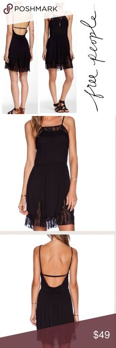 """Free People lace slip dress Beautiful lace slip dress from Free People. Wear with booties and a suede jacket for a modern and cool look. Rayon, nylon and spandex. Approx 37"""" long from shoulder seam to hem. Never worn and new with tags. Size medium. Free People Dresses"""