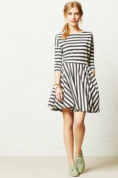 Front - stripe dress with boat neck and full skirt