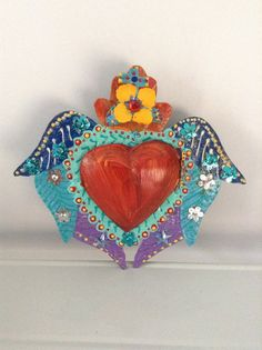 Mexican winged sacred heart tin nicho with heart door and heart mirror // Bright red heart/ Day of the Dead // whimsy cute unique angelic