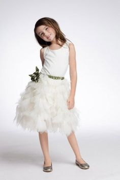 Ivory Tulle Flower Girl Dress with Belt and Handmade Flower | LynnBridal.com