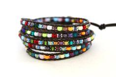 Handmade Multicolored Rainbow Beaded Leather Wrap Bracelet by CraeVita