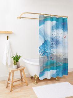 """Ibiza Sunset"" Shower Curtain by YYZDesign Ocean Shower Curtain, Watercolor Shower Curtain, Colorful Shower Curtain, Painting Shower, Shower Curtains, Watercolor Wave, Beach Print, Ocean Waves, Beach Waves"