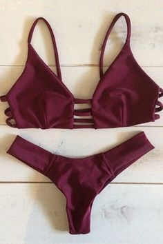 Solid Color Lace-Up Hollow Out Bikini Set