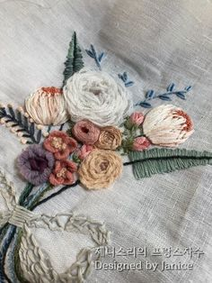 제니스리의 프랑스자수:..그녀의 작약 꽃다발 : 네이버 블로그 Embroidery 3d, Hand Embroidery Flowers, Flower Embroidery Designs, Little Bag, Stitch Design, Embroidery Techniques, Hand Stitching, Brooch, Elsa