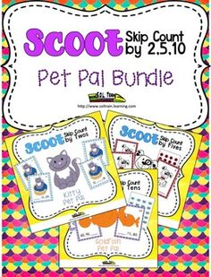 Delight your students with this adorable SKIP COUNTING SCOOT BUNDLE. This fun SKIP COUNTING BY 2, 5, and 10 GAME by SOL Train Learning will have your kiddos UP AND MOVING, using cute themed MANIPULATIVES as they learn about skip counting by 2, 5, and 10. You can put them in a CENTER and then follow up by playing Scoot with them.  Included: Doggy Pet Pal Scoot Kitty Pet Pal Scoot Goldfish Pet Pal Scoot