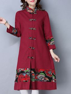 Folk Style Print Patchwork Frog Button Long Sleeve Women Coats