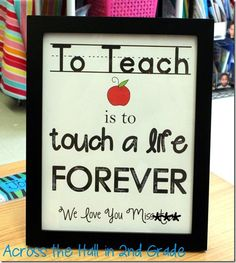 Student teacher thank you gift - from across the hall